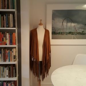 Free People suede fringed poncho